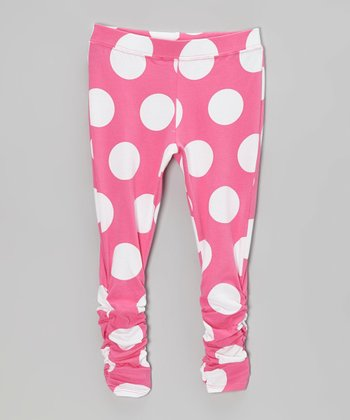 Pink Polka Dot Leggings - Infant, Toddler & Girls