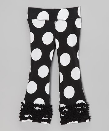 Black Polka Dot Flare Pants - Infant, Toddler & Girls