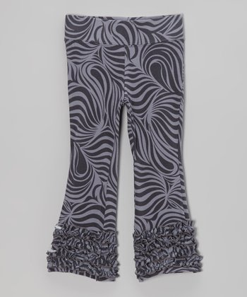Charcoal Zebra Flare Pants - Toddler & Girls