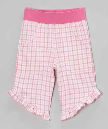 Pink Plaid Ruffle Capri Pants - Infant & Toddler