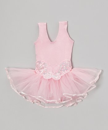 Pink Sequin Butterfly Skirted Leotard - Infant & Girls