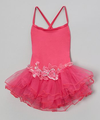 Hot Pink Sequin Rose Skirted Leotard - Infant, Toddler & Girls