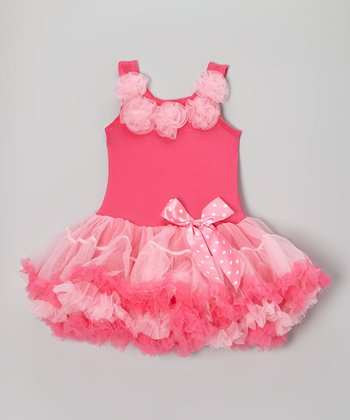 Hot & Light Pink Rosette Ruffle Dress - Infant, Toddler & Girls