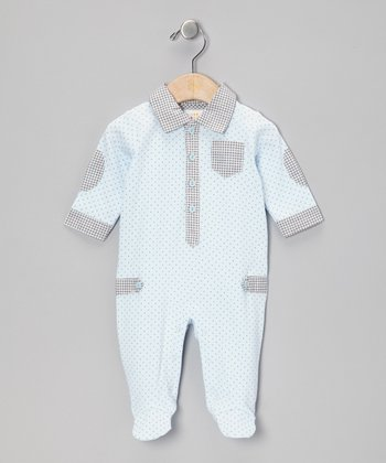 Blue & Gray Polo Footie - Infant