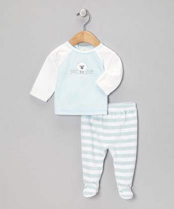 Blue & White Stripe Sheep Velour Top & Footie Pants