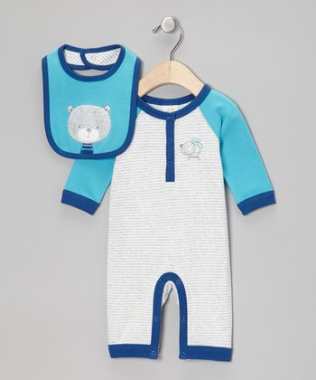 Teal & Navy Pup Playsuit & Bear Bib - Infant