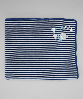 Navy & Gray Stripe Velour Stroller Blanket