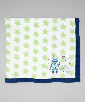 Green & Navy Star Robot Stroller Blanket