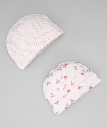 Light Pink Pin Dot & Sheep Beanie Set
