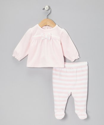 Light Pink & White Velour Top & Stripe Footie Pants