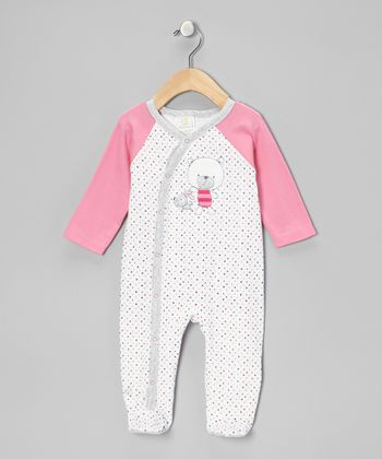 Pink & White Dot Bear & Pup Wrap Footie - Infant