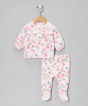 Light Pink Bear in the Rain Velour Top & Footie Pants - Infant