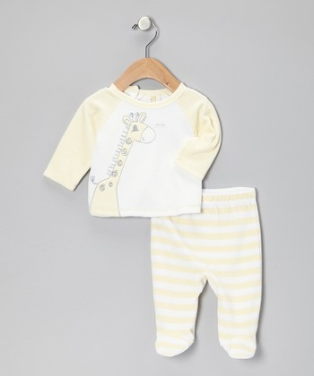 Yellow & White Giraffe Velour Top & Stripe Footie Pants
