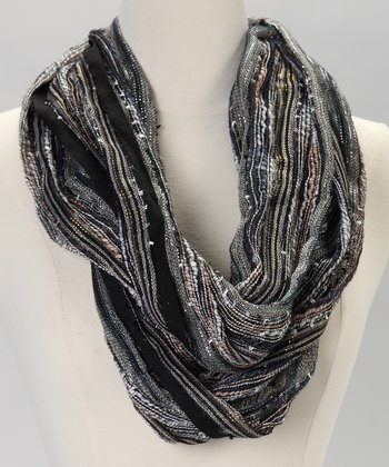 Black & Gray Metallic Infinity Scarf
