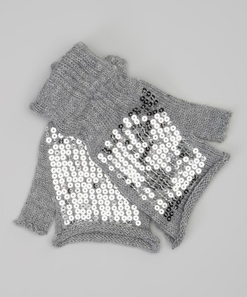 Gray Sequin Fingerless Gloves