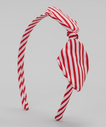 Red Stripe Bow Headband