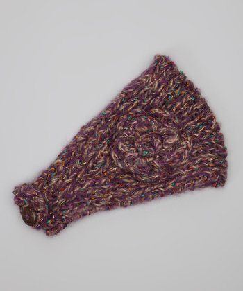 Purple Flower Knit Head Warmer