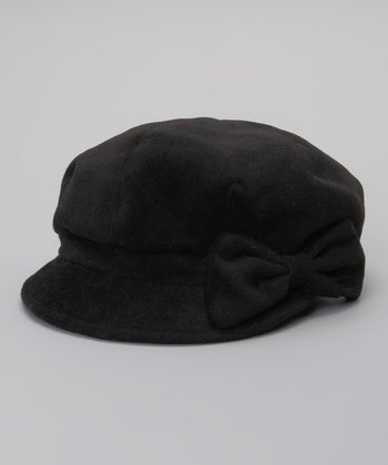 Black Bow Newsboy Cap