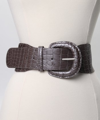 Gray Crocodile Stretch Belt