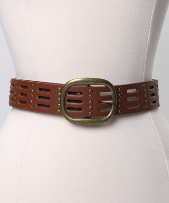 Cognac Stud Belt - Women