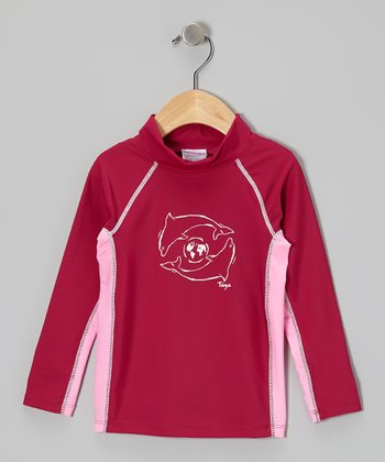 Cranberry Long-Sleeve Rashguard - Infant, Toddler & Girls