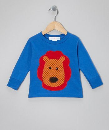 Royal & Orange Lion Face Tee - Toddler & Boys