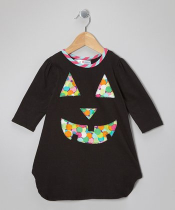 Black Jack-o'-Lantern Scallop Dress - Toddler & Girls