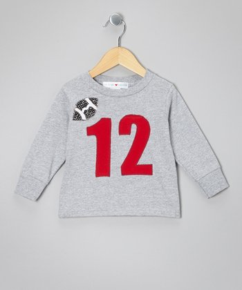Gray '12' Football Tee - Toddler & Boys