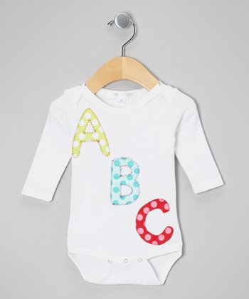 White 'ABC' Bodysuit	- Infant