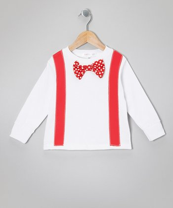 White & Red Bowtie Tee - Toddler & Boys
