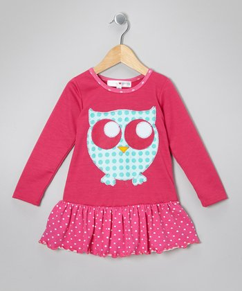 Pink & Aqua Owl Drop-Waist Dress - Infant, Toddler & Girls