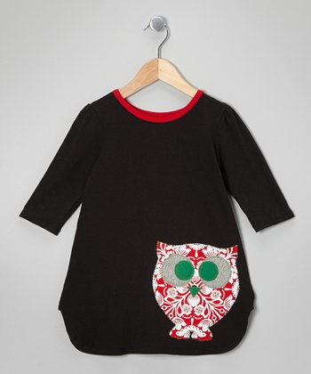 Black & Pink Owl Scallop Dress - Toddler
