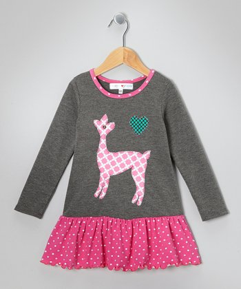 Pink & Gray Deer Drop-Waist Dress - Infant, Toddler & Girls