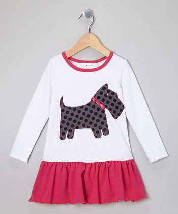 White & Pink Scottie Drop-Waist Dress - Infant, Toddler & Girls