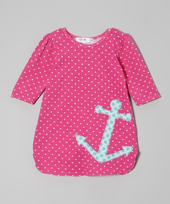 Pink & Aqua Polka Dot Anchor Dress - Toddler & Girls
