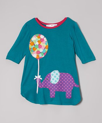 Teal & Purple Elephant Dress - Toddler & Girls