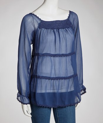 Blue Lace Peasant Top - Women