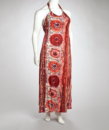 Red Abstract Maxi Dress - Plus
