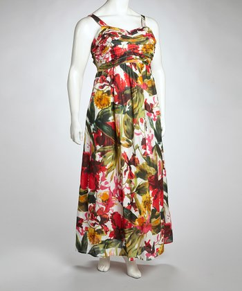 Red & Green Floral Maxi Dress - Plus