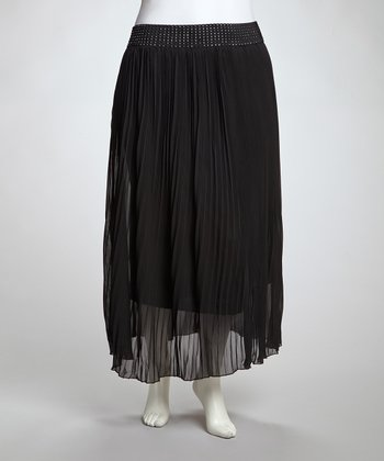 Black Accordion Maxi Skirt - Plus