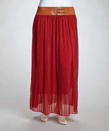 Red Belted Maxi Skirt - Plus