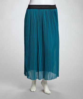 Teal Accordion Maxi Skirt - Plus