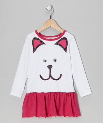 White & Fuchsia Kitty Drop-Waist Dress - Infant, Toddler & Girls
