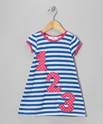 Royal & Fuchsia Stripe '123' Dress - Infant, Toddler & Girls
