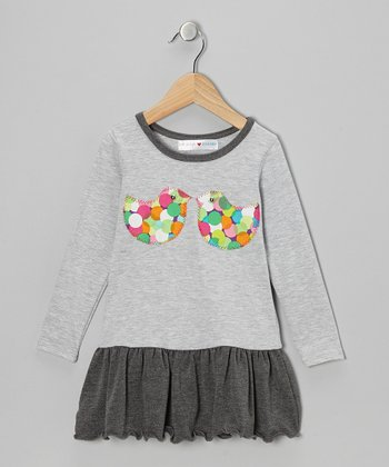 Gray Lovebirds Drop-Waist Dress - Infant & Toddler