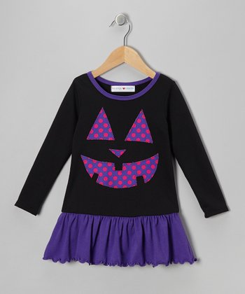 Black & Purple Jack-O'-Lantern Dress - Infant, Toddler & Girls