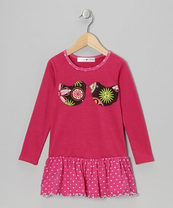 Fuchsia Lovebirds Drop-Waist Dress - Infant, Toddler & Girls