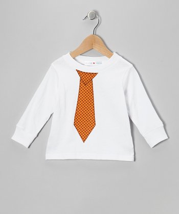 White & Orange Necktie Tee - Toddler & Boys