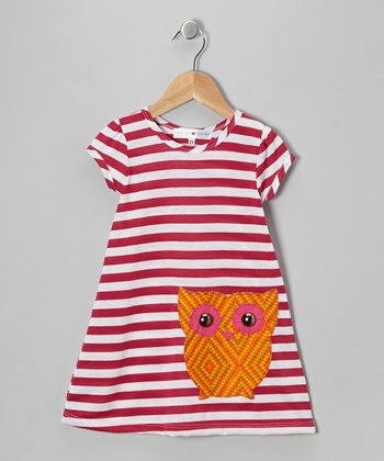 Fuchsia & Orange Stripe Owl Dress - Infant, Toddler & Girls