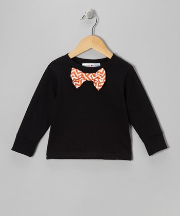 Black & Orange Bow Tie Tee - Toddler & Boys